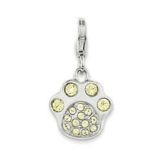 Swarovski Elements Paw Print Charm .925 Sterling Silver Click On Amore La Vita