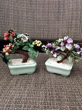 2 Vintage Asian Chinese Japanese JADE Gemstone BONSAI TREES H 6,5""