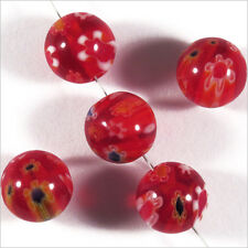 Lot de 10 Perles en Verre Millefiori 10mm Rouge