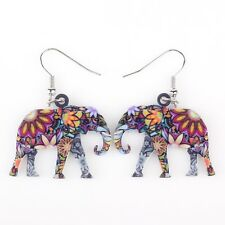 Bonsny Elephant Earrings Acrylic Cute Animal Long Drop Dangle Earrings AE373