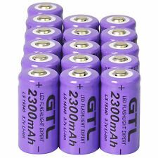 16x 3.7V CR123A 16340 2300mAh Purple GTL Rechargeable Battery Cell - Flashlight