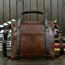 Crazy Horse Leather Mens Business Briefcases Handbag Shoulder Bags Laptop Bag