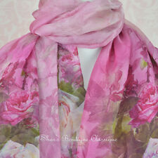 100% Real Genuine Pure Mulberry Silk Chiffon Scarf Pink Floral Shawl Wrap Stole
