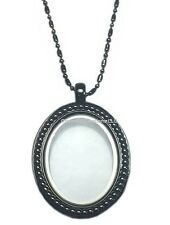 Large Oval Antiqued Gun Metal Floating Charm Memory Locket & Chain Necklace