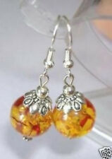 Tibetan Silver Jewelry Handmade amber Earrings