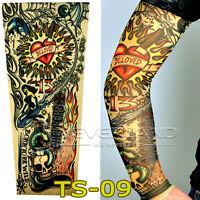 Tattoo Ärmel Skin Arm Sleeve Strümpfe Stulpe Karneval Fasching Kostüme # TS09
