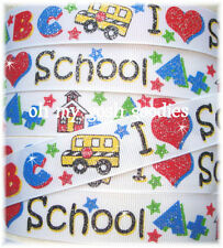 7/8 GLITTER I LOVE SCHOOL BACK TO ABC BUS HOUSE GROSGRAIN RIBBON 4 HAIRBOW BOW
