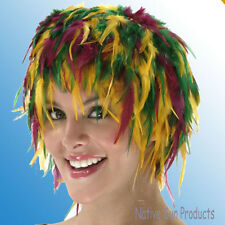 Mardi Gras Color Wig Rooster Hackle Feathers Halloween Costume Punk Retro New