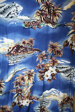 Hilo Hattie Mens Hawaiian Shirt L Ukulele Palm Clouds Hibiscus Made US EUC