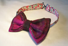 Pink Check/Tartan Tweed bow tie. Wool fabric/Liberty fabric lining