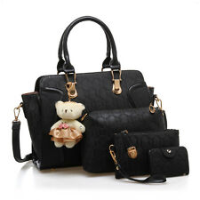 Black- Women 5PCS PU Leather Handbag Set Shoulder Tote Messenger Bags Purse Bag