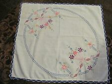 "Vintage Square Table Cloth - Embroidered / Crochet Lace Edge.   28"" X 30"""