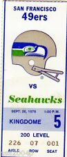 1976 INAUGURAL SEASON SEATTLE SEAHAWKS TICKET STUB VS. SAN FRANCISCO 49ERS