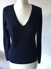 J.CREW Navy Cashmere Cable Knit V-Neck Jumper Sweater Pullover Size L UK 8 - 12