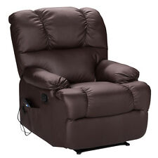 Recliner Massage Sofa Chair Deluxe Ergonomic Lounge Couch Heated W/Control Brown