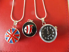 "SILVER TONE PENDANT.18"" Silver Snake Chain Choice Union Jack/Watch/Enamel Snap"