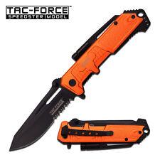 TAC-FORCE ORANGE EMT Spring Assisted Open LED Tactical Rescue Pocket Knife