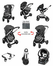 NEW CHICCO ANTHRACITE / NIGHT URBAN TRAVEL SYSTEM PUSHCHAIR PRAM BABY CAR SEAT