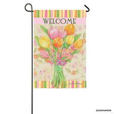 Welcome Garden Flag Perfect Petals Design Flowers Evergreen Presents Reflections