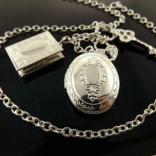 A940 GENUINE REAL 925 STERLING SILVER S/F ANTIQUE LOCKET PENDANT NECKLACE CHAIN