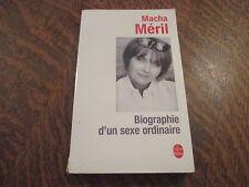 le livre de poche biographie d'un sexe ordinaire - macha meril