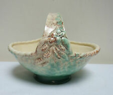 BESWICK WARE MOTTLED GREEN CREAM DECO 1930's BASKET DISH BOWL 623 4.75""