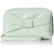 Lulu Guinness Womens Green Faux Leather Bow Zip Around Wristlet Wallet  NWT