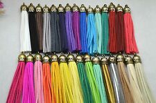 30pcs Handmade Suede Bronze Leather Tassel Pendant Key Chains Bag Accessories