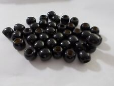 50pcs 12mm Wooden Round Spacer Wood Beads - JET BLACK ( Large hole: 5mm )