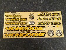 NOS OLD MID SCHOOL MONGOOSE OUTER LIMITS COMPLETE STICKER DECAL SET BMX BIKE