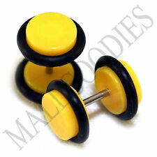 X118 Fake Cheater Illusion Faux Ear Plugs 16G Bar - 0G = 8mm Yellow 2pcs SALE!!!