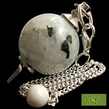 Rainbow Moonstone Dowsing Pendulum Ball Sphere Crystal Strengthens Intuition