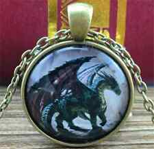 Vintage dragon Cabochon Tibetan Bronze Glass Chain Pendant Necklace NEW   W2