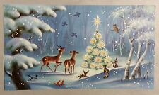 UNUSED Lit Christmas Tree Deer Bunnies Forest Vintage Christmas Greeting Card