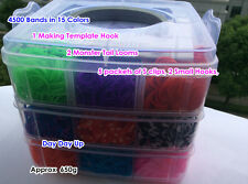 4500 Rainbow Loom Rubber Band Refill Box DIY Monster Tai lMaking Kit Hook S Clip