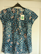 BODEN RAVELLO SILK MIX TOP BLUES TRAILING FLORAL UK 22 EUR 48-50 US 18 BN WA735