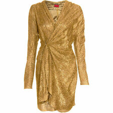 LANVIN Gold Long Sleeve Wrap Dress SZ 38 = Fits US 2-4 - NWT - RT $3,990.00