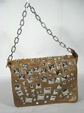 GALiAN New York Purse Bag Leather Punk Brown Silver Studs Chain Med 12 x 8 x 3