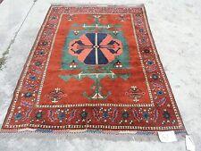4x6ft. Handmade Geometric Afghan Kazak Wool Rug