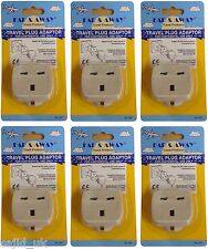 6x Far & Away Double Earthed Continental EU European Travel Adaptor Plug