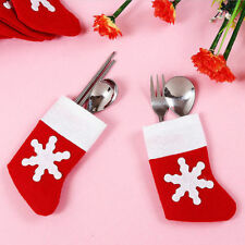 6x Christmas Cutlery Holder Bag Fork Spoon Pocket Santa Claus Christmas Decor