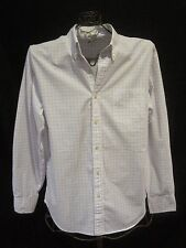 Mens J. CREW White/Blue Checkered Long Sleeve Button Front Shirt Large Tailored