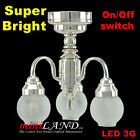 Silver Chandelier 3arms SUPER bright battery LED LAMP Dollhouse miniature light