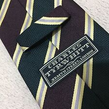 MENS CHARLES TYRWHITT SILK 9cm NAVY BLUE PURPLE CHAMPAGNE WOVEN STRIPED SILK TIE