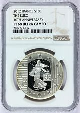 2012 France 10 Euro 10th Anniversary Silver PROOF Coin NGC PF 68 UCAM - KM# 1889