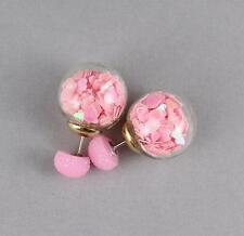 confetti double ball earrings post stud stick reversible front back double sided