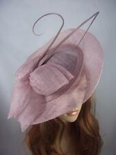 Heather Pink Large Sinamay Saucer Fascinator With Ostrich Spiral Spine - Races
