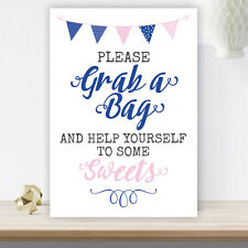 Pink & Blue Bunting Grab A Bag Candy Buffet Sweet Table Cart Sign Wedding (PBB2)