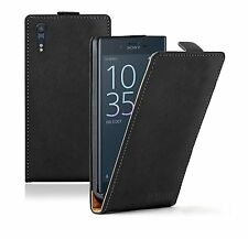 SLIM BLACK Leather Flip Case Cover Pouch For Sony Xperia XZ +2 FILMS
