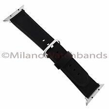38mm Black Genuine Leather Watch Band With Metal Adapters Fits Apple Watch